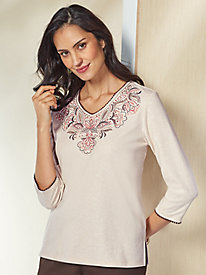 Embroidered Yoke Top By Alfred Dunner®