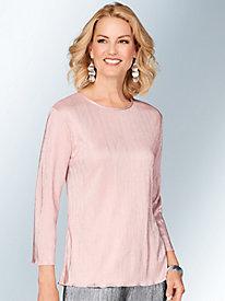 Three-Quarter Sleeve Sparkle Knit Top