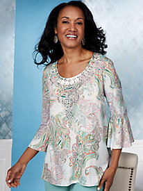 Vivika Beach Paisley Top by Gloria Vanderbilt®