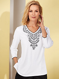 Alfred Dunner® Grand Boulevard Embroidered Top