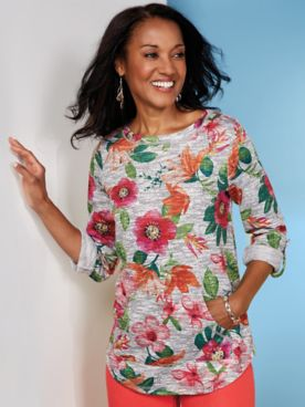 Ruby Rd. Floral Print Terry Pullover