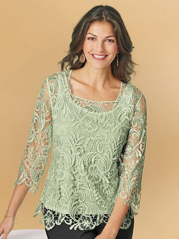 Metallic Lace Square Neck Top - Image 3 of 3