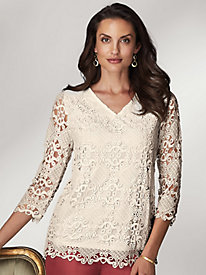 Koret® V-Neck Lace Top by Old Pueblo Traders
