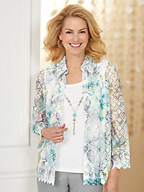 Alfred Dunner® Versailles Printed Lace 2-in-1 Top