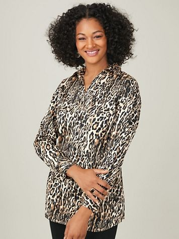 Koret® Button-Front Stretch Tunic - Image 1 of 7