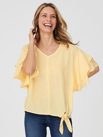 Ruffle Sleeve Tie-Front Top - Image 1 of 5
