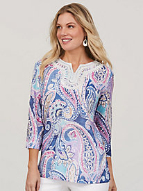 Alfred Dunner® Petal Pushers Paisley Lace Tunic