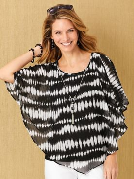 Alfred Dunner® Checkmate Tie-Dye Flutter Top