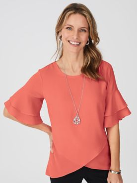 Flutter Sleeve Blouse with FREE necklace
