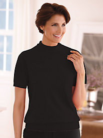 Cashmere-Like Short Sleeve Mock Sweater by Old Pueblo Traders