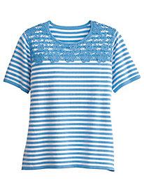 Stripe Lace Yoke Sweater by Alfred Dunner®