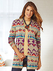 Long Sleeve Button-Front Aztec Sweater