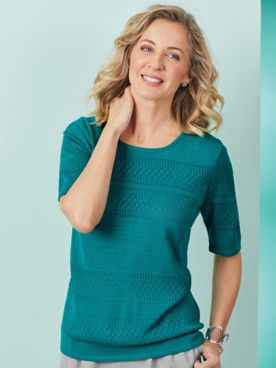 Elbow-Sleeve Pointelle Sweater