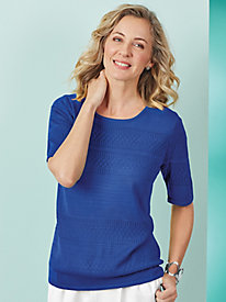 Elbow-Sleeve Pointelle Sweater
