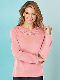 Long-Sleeve Fancy Neck Sweater