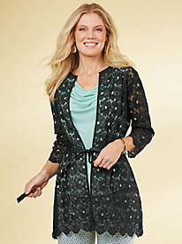 Scalloped Lace Cardigan By Emaline®