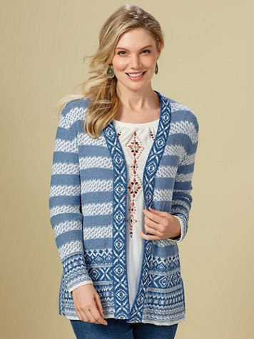 Jacquard Sweater Cardigan by Ruby Rd.