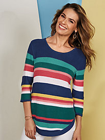 Koret® Curved Hem Striped Sweater