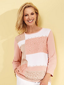 Alfred Dunner® Good to Go Colorblock Lace Sweater