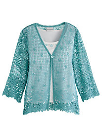 Alfred Dunner® Crochet Lace 2-for-1 Sweater