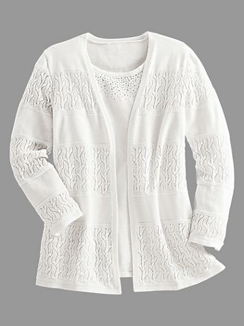 Alfred Dunner® Biadere Pointelle 2-for-1 Sweater