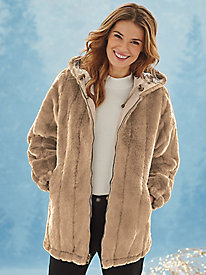 Hooded Faux-Fur Coat by Serbin Sport®