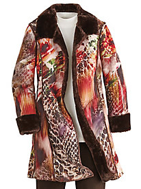 Print Faux Suede Jacket by Mark Reed