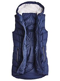 Down Walking Vest With Faux Fur Hood