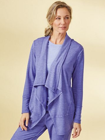 Active@Ease Drape-Front Cardigan - Image 1 of 7