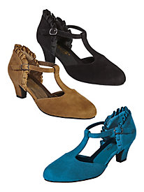 Ruffle T-Strap Pumps by Beacon®