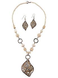 Leaf Necklace & Earrings Set