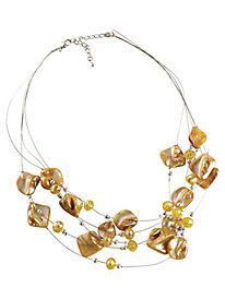 Multi-Strand Shell and Crystal Necklace