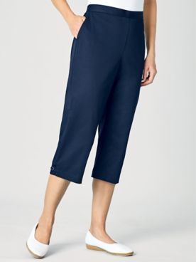 Alfred Dunner® Flat Front Stretch Twill Capris