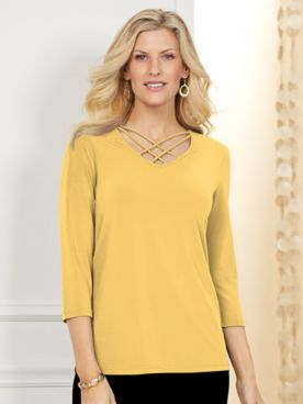Koret® Lattice Neck Knit Top