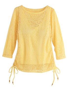 Sunny Side Up Paisley Mesh Top by Hearts of Palm