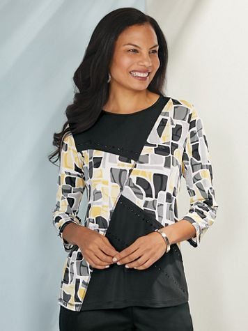 Alfred Dunner® Native New Yorker Spliced Top - Image 0 of 1