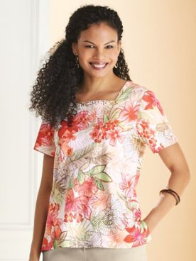 Alfred Dunner® Martinique Etched Tropical Top