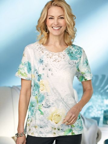 Alfred Dunner® Versailles Butterfly Floral Top