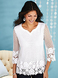 Alfred Dunner® Smooth Sailing Crochet Lace Tunic