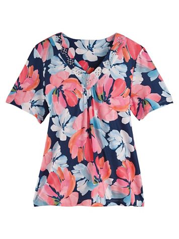 Alfred Dunner® Smooth Sailing Floral Top