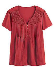 Zoey Knit to Woven Top by Gloria Vanderbilt®