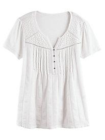 Zoey Knit to Woven Top by Gloria Vanderbilt®