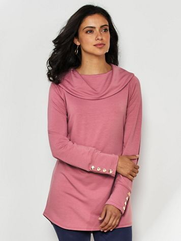 French Terry Cowl Neck Knit Tunic