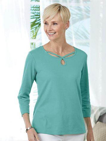 Alfred Dunner® Scroll Neck Top - Image 1 of 6