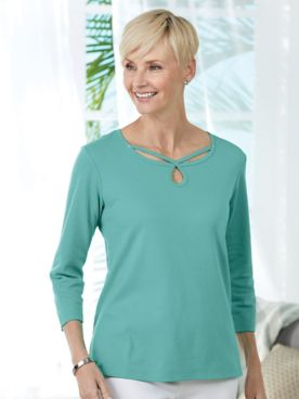 Alfred Dunner® Scroll Neck Top