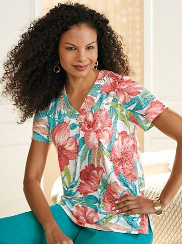 Alfred Dunner® Coastal Drive Tropical Top