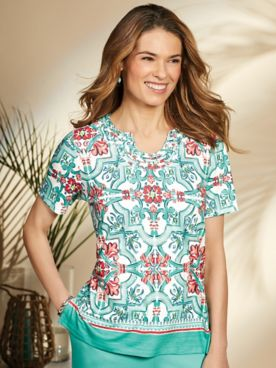 Alfred Dunner® Coastal Drive Medallion Top
