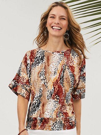 Mixed Animal Print Knit Top