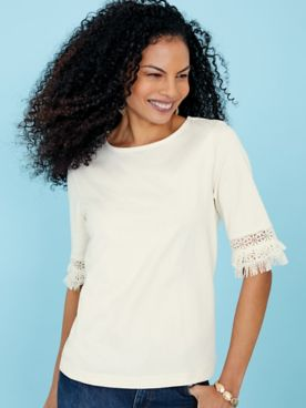 Crochet Fringe-Trim Knit Top