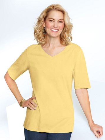 Any Day V-Neck Elbow Sleeve Tee - Image 3 of 4